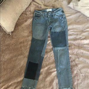 Free people patch denim jeans